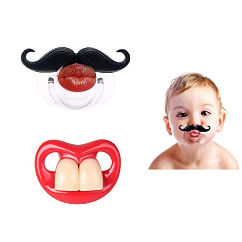 2Pcs Funny Teeth And Mustache Pacifier,Cute Gentleman Mustache Designed Baby Pacifiers for Soothe...