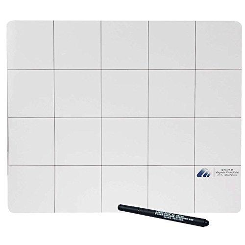 Magnetische Matte / Arbeitsmatte mit Raster Unterlage beschreibbar / mit Marker-Stift / Größe: 30cm x 25cm