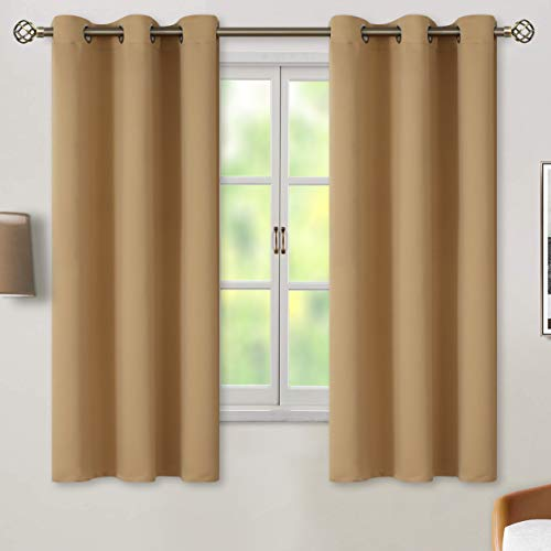 BGment Blackout Curtains for Living Room - Grommet Thermal Insulated Room Darkening Curtains for Bedroom, 2 Panels of 42 x 63 Inch, Khaki