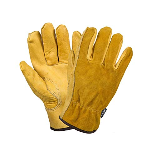 FZTEY Yard Gardening Safety Work Protective Leather Gloves Men & Women 9(Large)