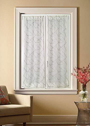 Tende per Finestra e porta Larghezza 45-65-90 cm Tende su Misura colore bianco/grigio-Art. emma (B - 2*65x150 cm)
