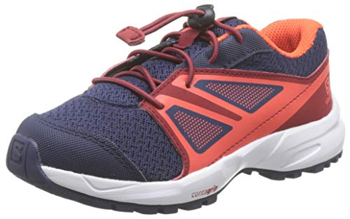 Salomon Sense K, Zapatillas de Senderismo, Azul/Naranja (Evening Blue/Red Dahlia/Cherry Tomato), 28 EU