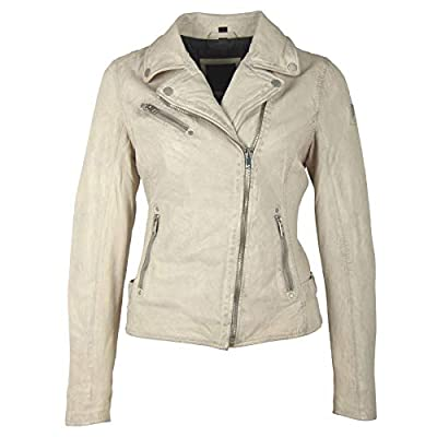 Mauritius Women's Vegetable Tanned Lambskin Leather Jacket - Sofia Offwhite Size Small