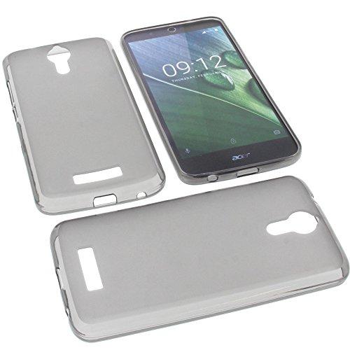foto-kontor Tasche für Acer Liquid Zest Plus Gummi TPU Schutz Handytasche grau