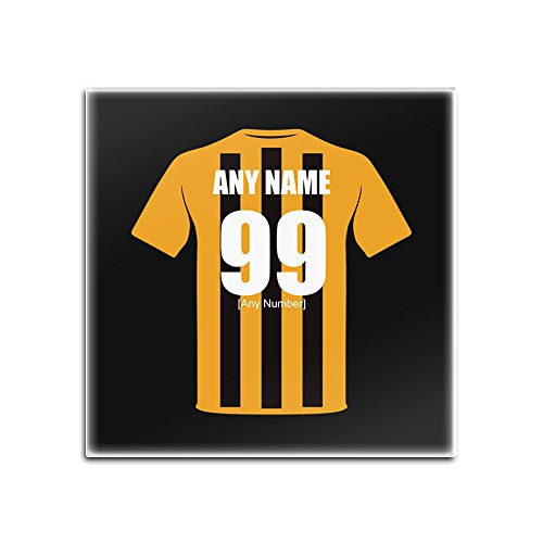 UNIGIFT Personalised Gift - Hull City Glass Square Coasters (Football Club Design Theme, Colour Options) - Any Name/Message on Your Unique Mat Pad - The Tigers AFC