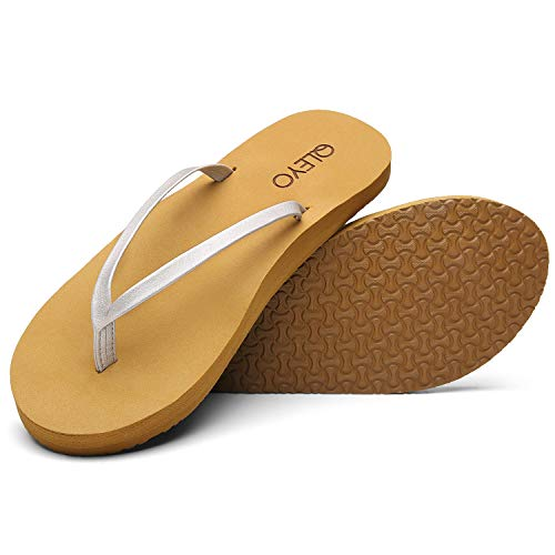 QLEYO Arch Support Flip Flops for Women, Soft Mat Foam Sandal, Handcrafted Thong Shoes for Travelling/Beach/Pool/Party QLTX03-1-W27-8