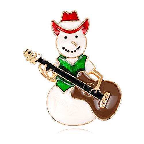 JKDFGJ Tragen Sie rote Cowboyhut Schneemann Brosche braune Gitarre grünen Mantel Mann Broschen für Frauen Emaille Pins Schmuck Zubehör