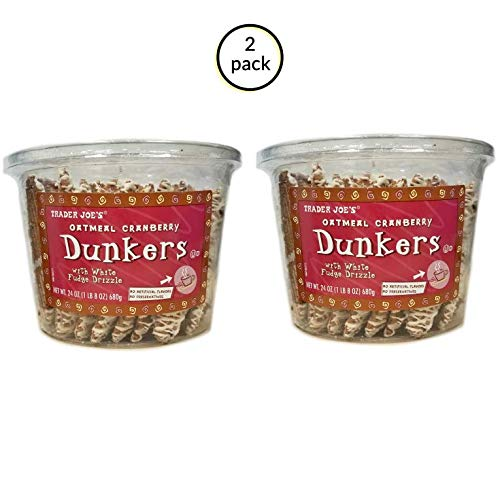 TJ's Oatmeal Cranberry Dunkers with White Fudge Drizzle - 2 Pack (24oz) 1 LB 8 oz