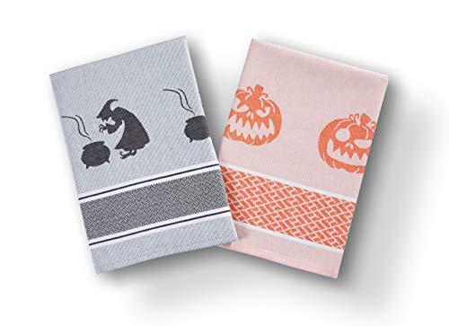 saewelo 2er-Set Geschirrtücher in Geschenkverpackung | 50 x 70 cm | 100% Baumwolle | Küchentücher | Trockentücher | Baumwolltücher (Halloween, Limited Edition)
