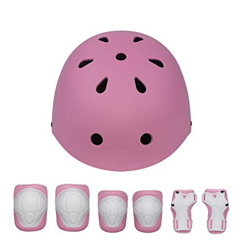 TONGDAUR 4-11 Years Helm Verstelbare Sport Protective Gear Set Fietsen Roller Scooter fiets Skateboard Protector (Color : Pink, Size : Free)