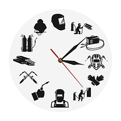 gongyu Weld Life Welder Reloj de Pared Personalizado de Cuarzo contemporáneo Soldadura de argón Reloj de Pared silencioso Impreso Regalos de Trabajadores de Soldadura eléctrica