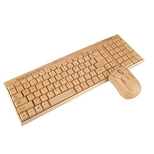 ASHATA Wireless Tastatur Maus Set, Bambus Ultra Dünne Kabellos Tastatur und Maus Kits,1600 DPI Maus Keyboard Mouse Kit Portable Funktastatur Maus mit USB-Empfänger