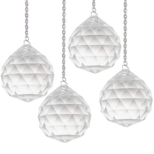 GORGECRAFT 40mm Crystal Prism Ball Pendant Transparent K9 Hanging Crystals Chandelier Beads Balls for Ceiling Droplets Light Refraction,4PCS