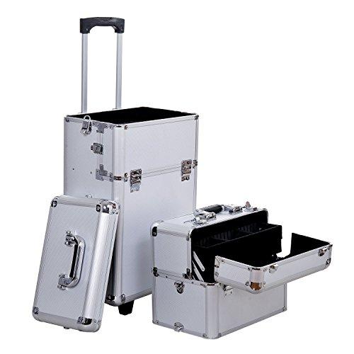 valigia make up professionale Homcom - Bagaglio Truccatura Beauty Valigia per Professionale Cosmetico Trolley Make up Argento