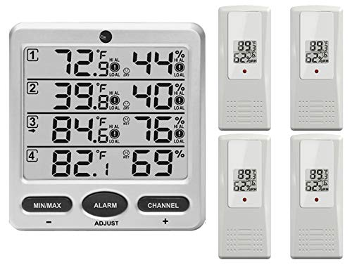 Ambient Weather Wireless Indoor/Outdoor 8-Channel Thermo-Hygrometer with Four Remote Sensors WS-10-X4