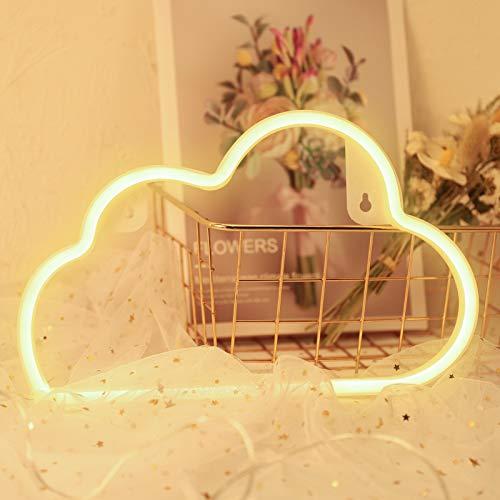 Heyu-Lotus Luz de neón blanca cálida, diseño de nube con luces LED, decoración para bodas, fiestas y decoración de pared