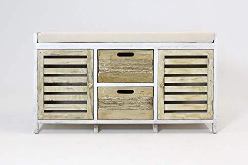 Sitzbank aus Holz im Shabby-Look, weiß/hellbraun, mit Sitzkissen, 2 Türen & 2 Schubladen, Truhenbank, Kommode