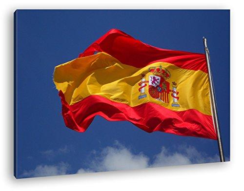 deyoli Spanische Flagge im Wind Format: 100x70 als Leinwandbild, Motiv fertig gerahmt auf Echtholzrahmen, Hochwertiger Digitaldruck mit Rahmen, Kein Poster oder Plakat