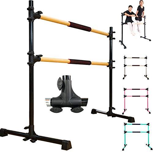 PreGymnastic Updated 4ft/5ft Adjustable & Portable Freestanding Ballet Barre with Carrying Bag for Dancing Stretch (Color 1(Black 4ft))