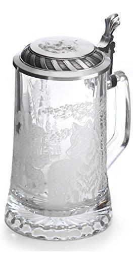 Artina Jennerwein Bier Stein Wolf, hoogte 18 cm. 500 ml, Metallic, One Mate, 18 cm