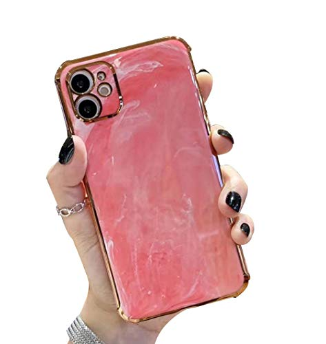 WYCcaseA Carcasa para Móvil Compatible con iPhone 12/12 Mini/12 Pro MAX Funda Protectora con Mármol Enchapado Carcasa TPU Suave Silicona Case Cover,Rojo,12mini