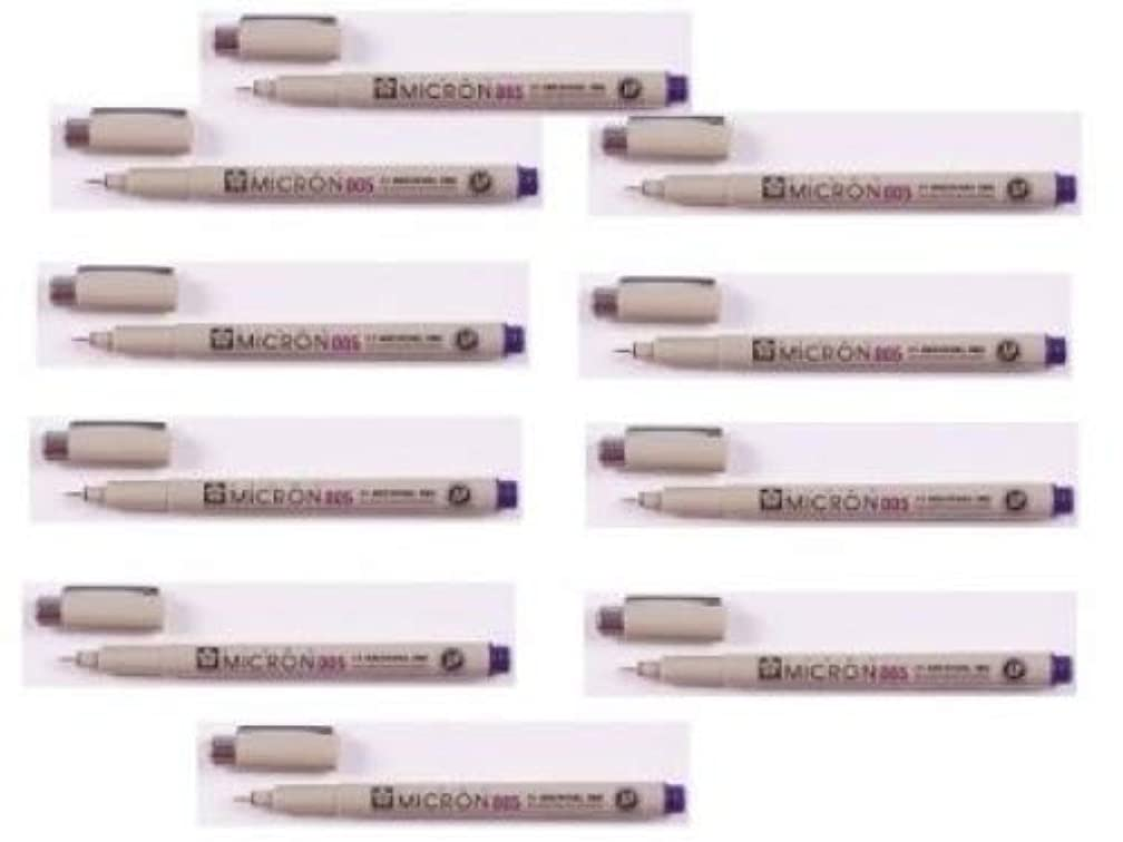 10 Sakura Pigma Micron Pens Tip Size 005 (0.20mm Line Width: 8 Ink Colors to Choose From: Drawing, Sketching, Cwriting (PURPLE INK)