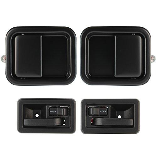 IAMAUTO 83432 Outside Outer Metal & Inside Inner Door Handle Kit (Set of 4 Handles) Fits 1991-2004 Jeep Wrangler