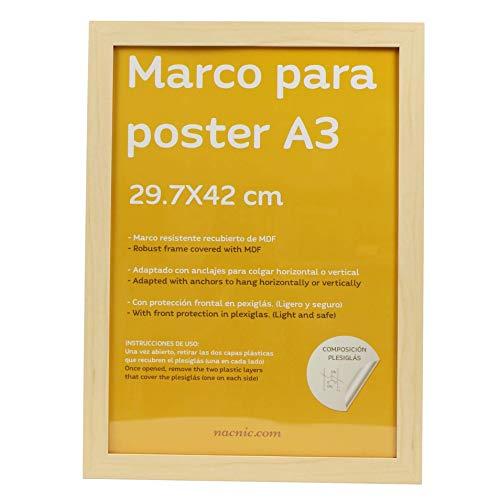 Nacnic Marco Tono Madera de Nogal para Fotos, Posters, láminas, Diplomas. Tamaño A3-29,7x42cm.Robusto de MDF y Frontal de plexiglas.Marco Madera de Nogal para Colgar