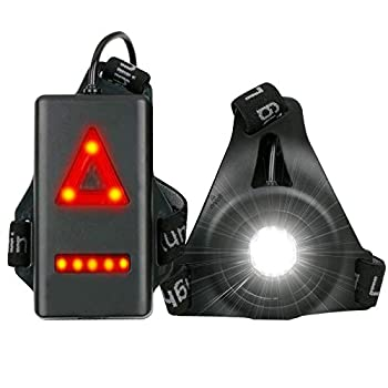 YunMei Lampe de course à pied avec 3 modes d'éclairage LED rechargeable par USB et étanche, lampe de poche à clip avec coureurs et joggeurs pour la randonnée, la course, le jogging