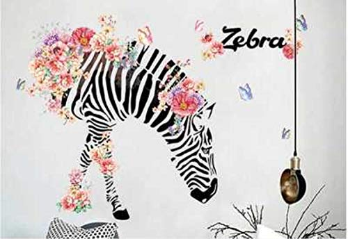 Creative Flowers Zebra Wall Stickers Portico Corridoio hoekbank Tv