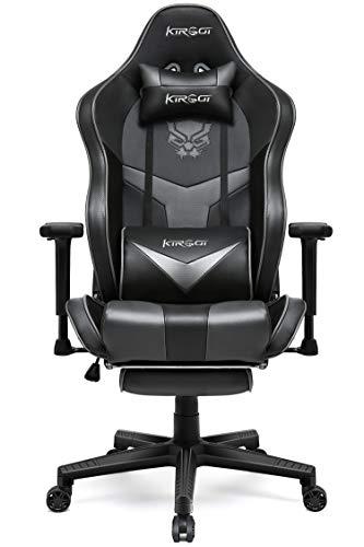 Kirogi Gaming Stuhl, Gaming Sessel mit Fußstütze, Ergonomischer schreibtischstuhl, Verstellbarer PC Gamer Stuhl für Erwachsene, großer und hoher Bürostuhl Kohlefaser Leder. Grau