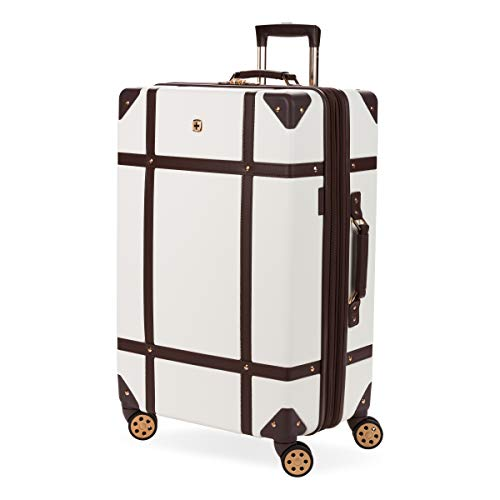SwissGear 7739 Trunk, Hardside Spinner Luggage (White, Checked-Large 26 Inch)