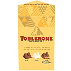 This bulk variety package contains 3 Milk Chocolate bars, Chocolate bars, 3 White Chocolate bars, 3 TOBLERONE Swiss Milk Chocolate with Salted Caramelized Almond Chocolate bars. Made with some of the finest ingredients in the world, TOBLERONE Swiss C...