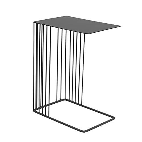 FUFU Mesa Pequeña Mesa de café Mesa Lateral Mesa Negro, Marco de Metal, Mesita de luz, Ordenador portátil Tabla-45cm x 30cm x 59cm