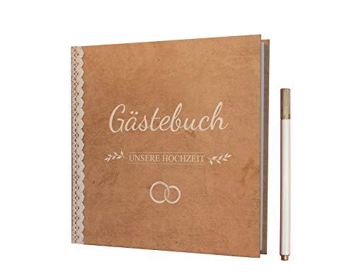 BridesDay Hochzeit Gästebuch - Gästebuch Hochzeit mit Gratis Stift - Langlebiges Hardcover umgibt Ihr Hochzeitsgästebuch - Erinnerungen für die Ewigkeit mit Stabiler Fadenbindung im Hochzeitsbuch