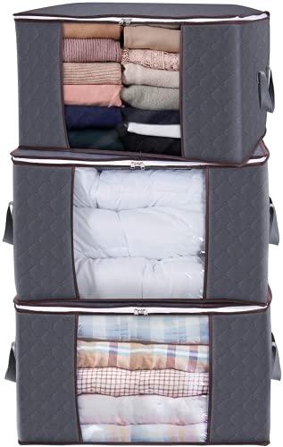 Bolsa de almacenamiento de ropa de gran capacidad con cremallera, con asas reforzadas y bolsa de almacenamiento transparente para ventana, para colchas, mantas, ropa de cama, plegable, gris