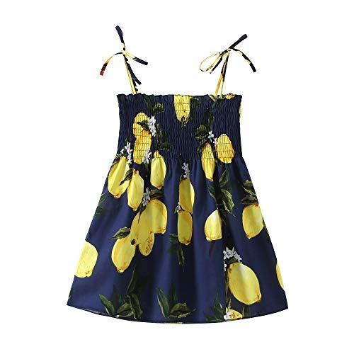 Tickas Sonnenblumenkleid für Mädchen,Halfter Lemon Dress für Mädchen Baby Girl Floral Sommerkleid Elastic Strap Print Strandkleider Casual für Kleinkinder Kinder Kinder 2-7 Jahre alt
