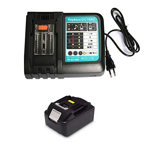 18V 4.0Ah Ersatz Akku mit Ladegerät 3A für Makita Baustellenradio DMR100 DMR108 DMR107 DMR106 DMR106B DMR102 DMR104 DMR110 DMR101 DMR103B BMR102 BMR100 BMR104 18 Volt Radio Batterie