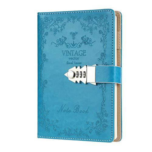 Diario para mujer con bloqueo de escritura y contraseña, cuaderno recargable tamaño A5 (8,5 x 5,9 pulgadas)