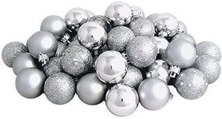 Sea Star Silver Christmas Tree Ball Ornaments Mini Shatterproof Satin Shiny and Glitter Finish Bulb Christmas Ornaments (Silver, 21pcs)