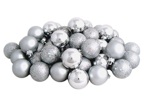 Sea Star Christmas Tree Ball Ornaments Mini Shatterproof Satin Shiny and Glitter Finish Bulb Christmas Ornaments (Silver, 21pcs)