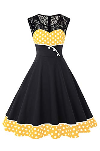 MisShow Retro Petticoat Kleid 50er Jahre Rockabilly Kleid Gepunkt Kleid Fasching Karneval Kleid Gelb L