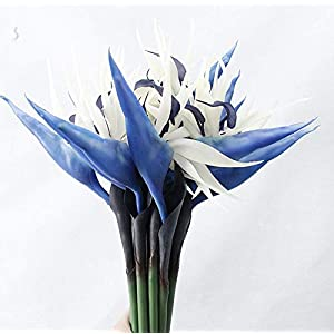 Large Bird of Paradise 32 Inch Permanent Flower ,Flower Stem 0.5 Inch ,UV Resistant No Fade Flower Part is Made of Soft Rubber PU,Artificial Flower Plants for Home Office 2 Pcs (Blue)