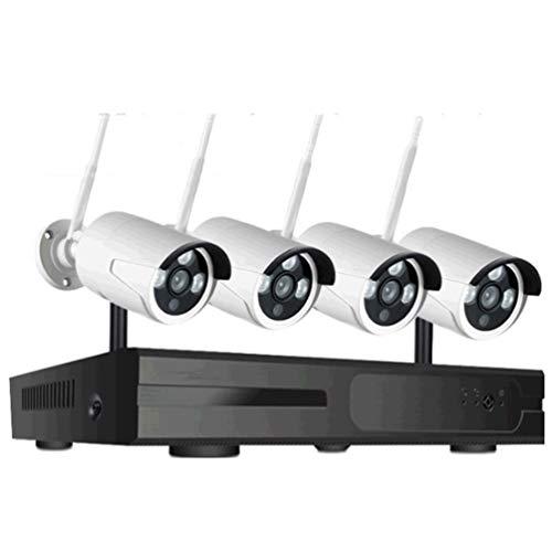 5MP HD 4CH Kit de cámara de Seguridad inalámbrica, 4 cámaras de vigilancia al Aire Libre Sistema NVR Integrado en micrófono, con visión Nocturna, detección de Movimiento, IP66 Impermeable
