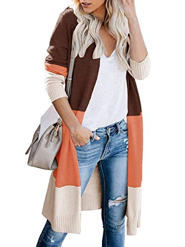 Avacoo Damen Strickjacke Lang Strickmantel Cardigan Damen Herbst Winter Casual Pulli Sweater Jacke Outwear Weinrot L