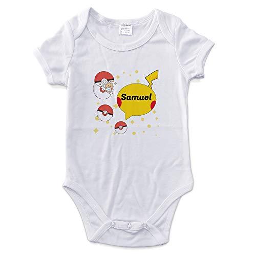 LolaPix Body Bebé Niño Personalizado con Nombre. Regalos Personalizados para Bebés. Bodies Personalizados Manga Corta. Varias Tallas. Pokemon