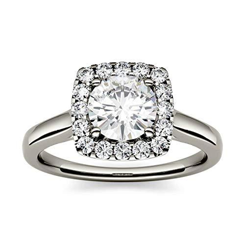 Charles & Colvard Forever One anillo de compromiso - Oro blanco 14K - Moissanita de 6.5 mm de talla redonda, 1.24 ct. DEW, talla 12