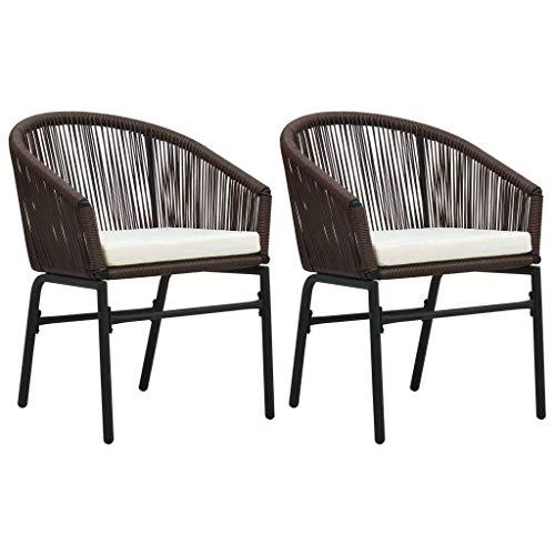 vidaXL 2X Gartenstuhl Rattansessel Gartensessel Stuhl Essstuhl Sessel Rattanstühle Gartenmöbel Rattanmöbel Gartenstühle Braun PVC Rattan