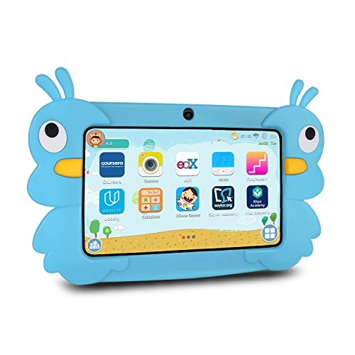 Xgody Kids Tablet 7 Zoll, 2GB + 16GB Android 9.0 GMS Tablet 7 inch, Quad Core, WiFi Bluetooth Dual Camera, Kidoz & Google Play Pre-Installed with Blau Case