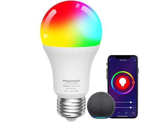 mayceyee WiFi Smart Light Bulbs, A19 E26 Colorchanging Light Bulbs That Work with Alexa and Google Assistant, RGBCW Dimmable Smart Led Light Bulbs, Remote Control Led Bulbs, No Hub Required, 1 Pack